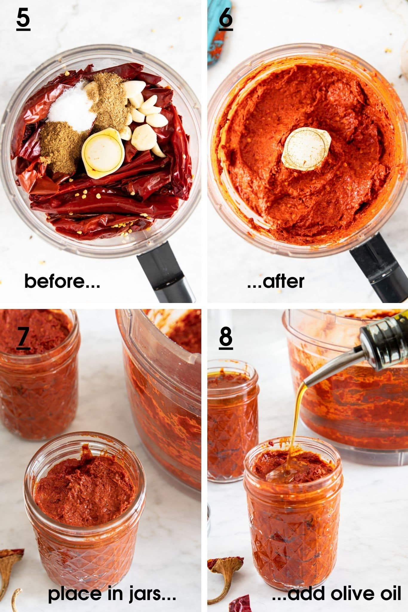 Photos how to make harissa paste in a food processor using dried chillies, garlic, cumin, coriander and olive oil; and how to store it in jars, with a layer of olive oil on top | from verygoodcook.com