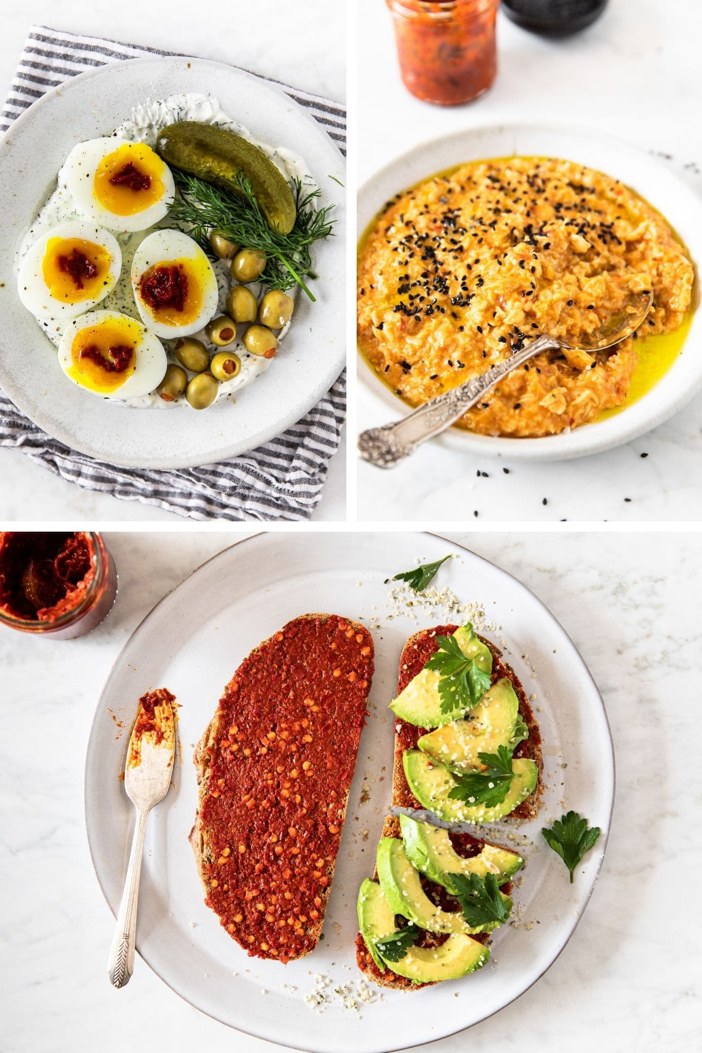 Three photos showing three different dishes, using Tunisian chili paste Harissa: with eggs, olives, pickle and yogurt; stirred into savory oatmeal; spread on a toast and topped with avocado | verygoodcook.com